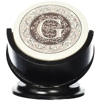 Thirstystone TSMG-H13 4 Piece Monogram Coaster Set with Pedestal Holder, Multicolor by Thirstystone