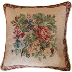Tache 2 Piece 18 X 18 Inch Tapestry Festive Red Yuletide Blooms Throw Pillow Cushion Cover by Tache Home Fashion