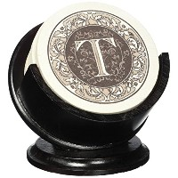 Thirstystone TSMT-H13 4 Piece Monogram Coaster Set with Pedestal Holder, Multicolor by Thirstystone