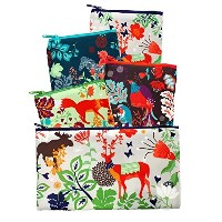 LOQI Forest Collection Pouch Reusable Bags, Multicolored, Set of 4 by LOQI