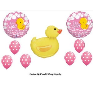 It 's A GirlベビーシャワーRubber Ducky Balloons Decorations Supplies Duck