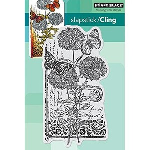 """Penny Black Cling Rubber Stamp 4""""X5.25"""" Sheet -Scripted Blooms (並行輸入品)"""