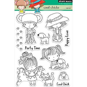 """Penny Black Clear Stamps 5""""X7.5"""" Sheet-Cool Chicks (並行輸入品)"""