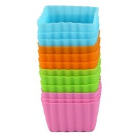Bakerpan Silicone Mini Cake Holders, Baking Cups, 2 Inch Squares, by Bakerpan