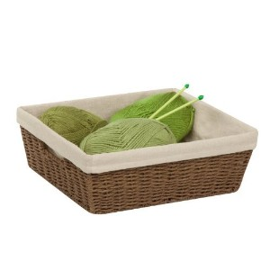 Honey-Can-Do STO-03564 Parchment Cord Basket with Handles and Liner, Brown, 12.99 x 15 x 5 inches...