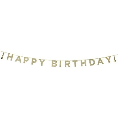 Talking Tables Say It With Glitter Hanging Happy誕生日バナーをタッセル(11.5Ft。) For a誕生日、ゴールド