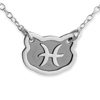 Two-Tone 925 Sterling Silver Belcho Zodiac Pisces Horoscope Necklace (22 Inches)