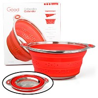 Collapsible Silicone Colander with Stainless Steel Base by Good Cooking by Good Cooking