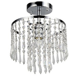 Whse of Tiffany RL1382/1 Seek 1-Light Chrome Crystal Chandelier by Whse of Tiffany