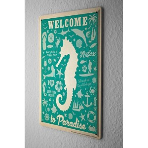 Retro Tin Sign ブリキ看板 Wall Decor Plate Welcome to paradise seahorse Metal Wall