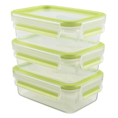 (3x 0,55 Litre, Light Green) - Emsa 515583 Clip & Close Colour 3-piece set of food storage...