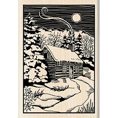 "Inkadinkado Christmas Mounted Rubber Stamp 2.75""X4""-Winter Evening Woodcut (並行輸入品)"
