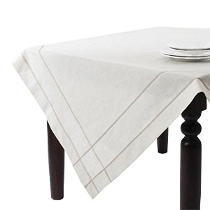 SARO LIFESTYLE 1-Piece Drawn Work Tablecloth Set, 72-Inch, Natural, Square by SARO LIFESTYLE