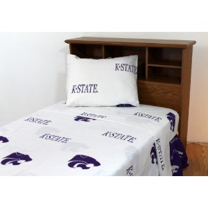 College Covers Kansas State Wildcats Printed Sheet Set, King, White by College Covers [並行輸入品]
