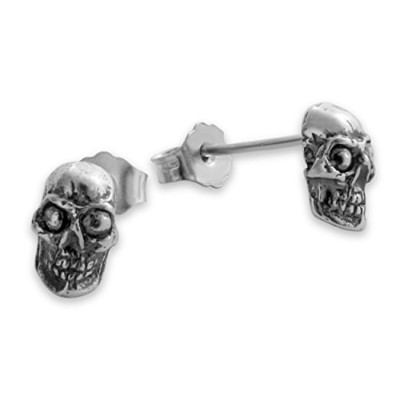 925 Sterling Silver Tiny Skull Post Earrings Set