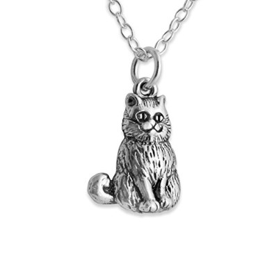 925 Sterling Silver 3D Smiling Cheshire Cat Pendant Necklace (18 Inches)