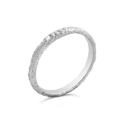 925 Sterling Silver Hammered White Ring (5.5)