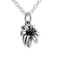 925 Sterling Silver Lily Flower Pendant Necklace (16 Inches)