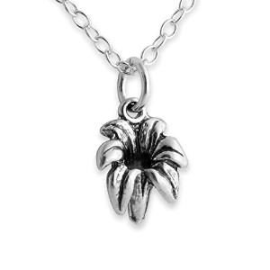 925 Sterling Silver Lily Flower Pendant Necklace (14 Inches)