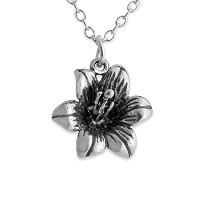 925 Sterling Silver Lily Flower Pendant Necklace (18 Inches)