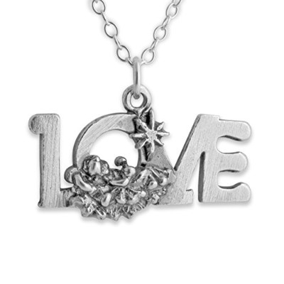 925 Sterling Silver LOVE Pendant Necklace (14 Inches)