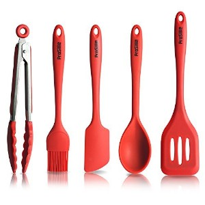 Prosilie Silicone Kitchen Tools 5-piece and Cooking Utensils with Hygienic Solid Coating by Prosilie