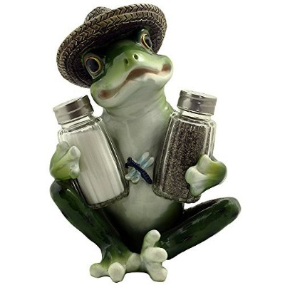 Decorative Country Frog & Dragonfly Glass Salt and Pepper Shaker Set with Display Stand Figurine...
