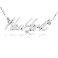 925 Sterling Silver New York State Handwritten Script Necklace USA NY (14 Inches)