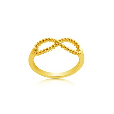 18k Gold-Plated Silver or 925 Sterling Silver Beaded Texture Infinity Ring (8, gold-plated-silver)