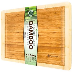 Bamboo Cutting Board with Beautiful White Edges. Measures 18x12 - Large, Thick, and Strong Chopping...