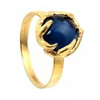 【宅配便発送指定】House of Harlow 1960 (ハウスオブハーロウ1960) Antler Button Ring Yellow Gold with Blue Cabachon...