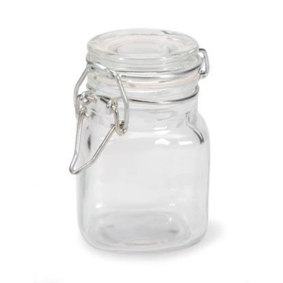 (6, clear) - Small Glass Jars with Locking Cannister Style Lids - 7.6cm x5.1cm x5.1cm LOT of 6 Jars