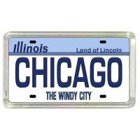 Chicago Illinois License Plate Acrylic Small Fridge Collector's Souvenir Magnet 2 X 1.25 by World...