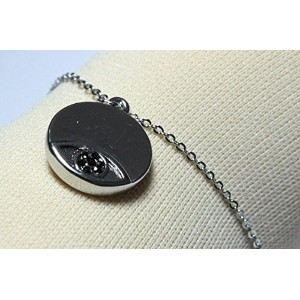 【宅配便発送指定】House of Harlow 1960 (ハウスオブハーロウ1960) Evil Eye Disc Charm Bracelet Silver with Black Pave ...