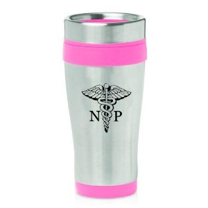 16oz Insulated Stainless Steel Travel Mug NP Nurse Practitioner Caduceus (Hot Pink) by MIP