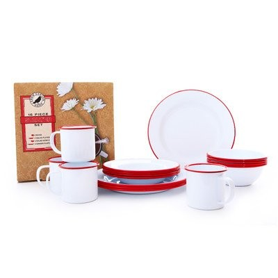 (Vintage White with Red Trim) - Enamelware 16 Piece Dinnerware Starter Set - Solid White with Red...