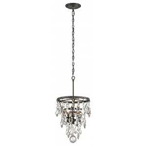 Troy Lighting Meritage 3-Light Pendant - Graphite Finish with Mercury - Plated and Clear Crystal...