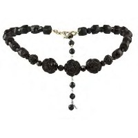 TARINA TARANTINO ADJUSTABLE LUCITE AND CARVED ROSE CHOKER BK[正規輸入品]