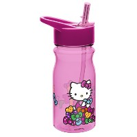 Zak! Designs Tritan Water Bottle with Flip-Up Spout and Straw with Hello Kitty Graphics, Break...