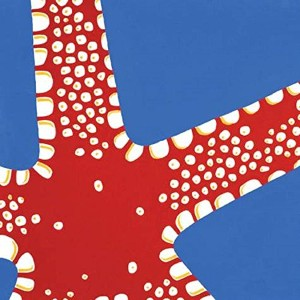 """WL ss-wl-23135太字Large Red Starfish On Periwinkleブルー壁アート、10by 10"""""""
