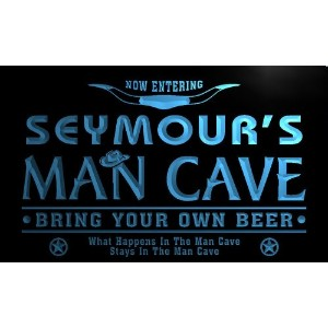 ネオンプレート サイン 電飾 看板 バー pb841-b Seymour's Man Cave Cowboys Bar Neon Light Sign