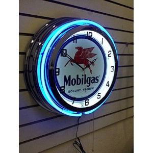 DOUBLE NEON CLOCK MOBILGAS ネオンクロック