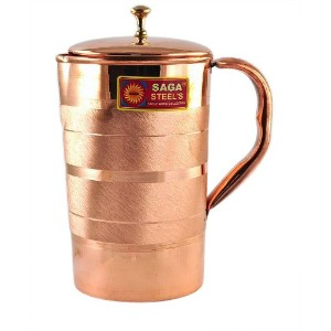 Pure copper bedside pitcher Jug for storing Drinking water Ayurveda India