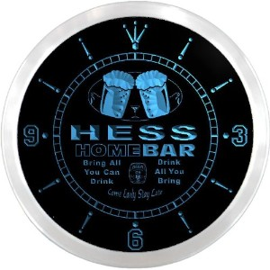 LEDネオンクロック 壁掛け時計 ncp1603-b HESS Home Bar Beer Pub LED Neon Sign Wall Clock