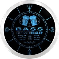 LEDネオンクロック 壁掛け時計 ncp1456-b BASS Home Bar Beer Pub LED Neon Sign Wall Clock