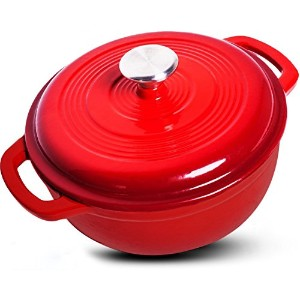 Enameled Cast Iron Dutch Oven - Red Color with Lid, 3.2-quart - by Utopia Kitchen by Utopia Kitchen