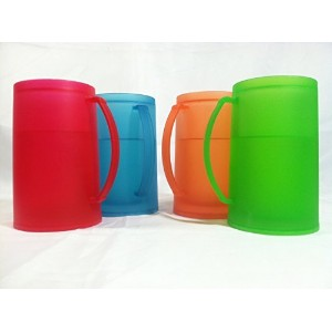 Bright/vibrant Mixed Color Set Frozen (Freezer) Beverage Mugs Set of 4 by Greenbrier