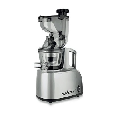 NutriChef PKSJ40 Countertop Masticating Slow Juicer Juice and Drink Maker, Stainless Steel by...