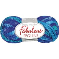 Mary Maxim Fabulous Sequins 毛糸 極太 ブルー系 100g 約25m
