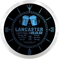 LEDネオンクロック 壁掛け時計 ncp2198-b LANCASTER Home Bar Beer Pub LED Neon Sign Wall Clock